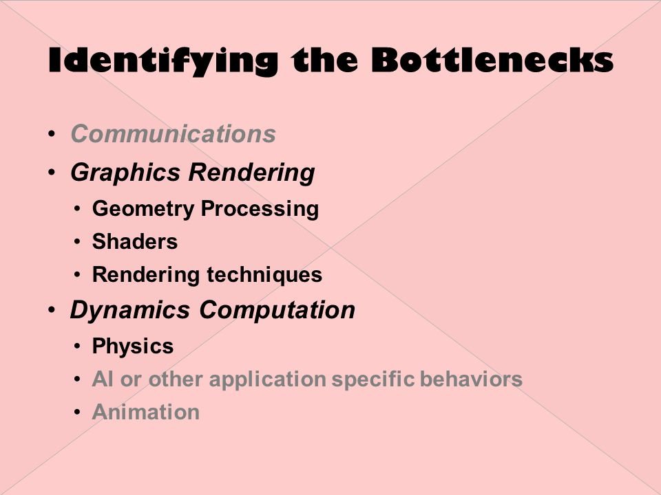 Identifying the Bottlenecks Communications Graphics Rendering Geometry Processing Shaders Rendering techniques Dynamics Computation Physics AI or other application specific behaviors Animation
