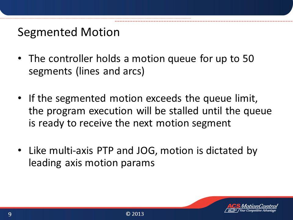 © 2013 Segmented Motion Corner detection Detection of segments where required motion violates velocity/acceleration limits Building a velocity profile using multi-segment look- ahead algorithm 10