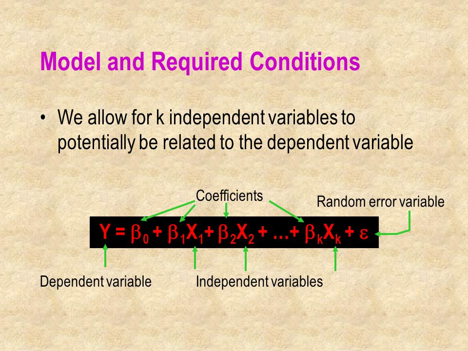 Coefficients Dependent variableIndependent variables Random error variable Model and Required Conditions We allow for k independent variables to potentially be related to the dependent variable Y =  0 +  1 X 1 +  2 X 2 + …+  k X k + 