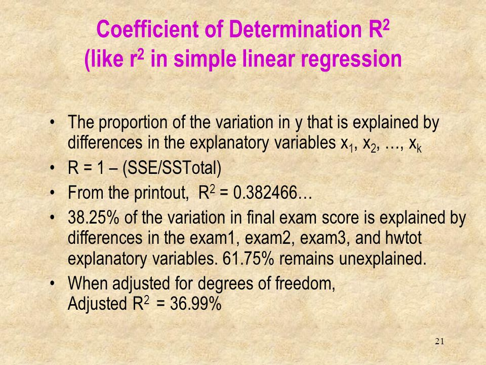 21 The proportion of the variation in y that is explained by differences in the explanatory variables x 1, x 2, …, x k R = 1 – (SSE/SSTotal) From the