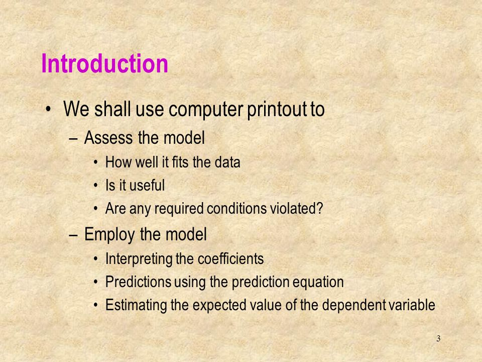 4 Coefficients Dependent variableIndependent variables Random error variable Multiple Regression Model We allow for k explanatory variables to potentially be related to the response variable y =  0 +  1 x 1 +  2 x 2 + …+  k x k + 