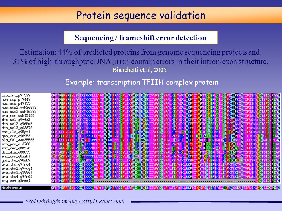 Protein sequence validation Sequencing / frameshift error detection Example: transcription TFIIH complex protein Estimation: 44% of predicted proteins from genome sequencing projects and 31% of high-throughput cDNA (HTC) contain errors in their intron/exon structure.