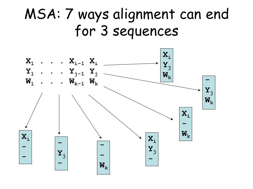 XiYjWkXiYjWk MSA: 7 ways alignment can end for 3 sequences X 1...