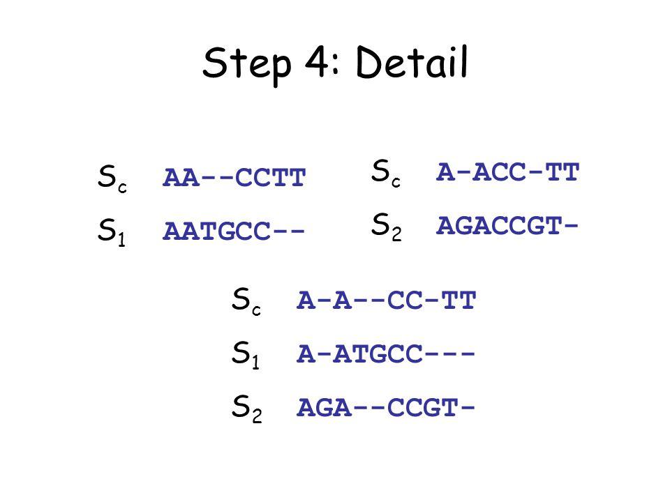 Step 4: Detail S c AA--CCTT S 1 AATGCC-- S c A-ACC-TT S 2 AGACCGT- S c A-A--CC-TT S 1 A-ATGCC--- S 2 AGA--CCGT-