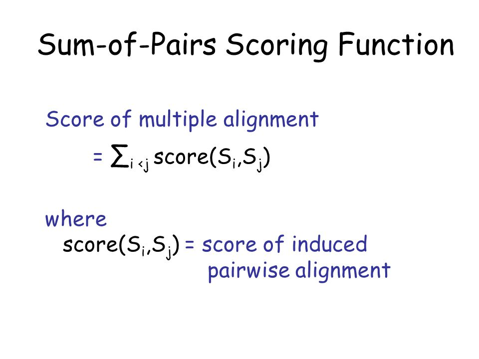Induced Pairwise Alignment S 1 S - T I S C T G - S - N I S 2 L - T I – C N G S S - N I S 3 L R T I S C S G F S Q N I Induced pairwise alignment of S 1, S 2 : S 1 S T I S C T G - S N I S 2 L T I – C N G S S N I
