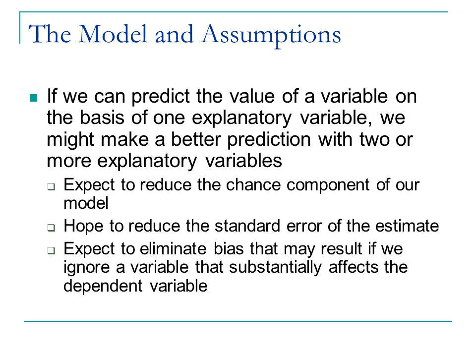 A Conceptual Experiment Frequently we do not have large enough data sets to be able to ask this type of question Multiple regression analysis allows us to perform the conceptual exercise of comparing individuals with the same age and different education levels, even if the sample contains no such pairs of individuals