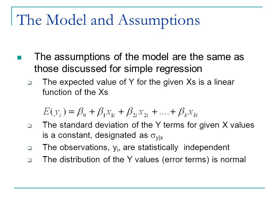 Interpreting the Partial Regression Coefficients For each X term there is a partial regression coefficient,  k This coefficient measures the change in the E(Y) given a one unit change in the explanatory variable X k,  holding the remaining explanatory variables constant  controlling for the remaining explanatory variables  ceteris parabis  Equivalent to a partial derivative in calculus