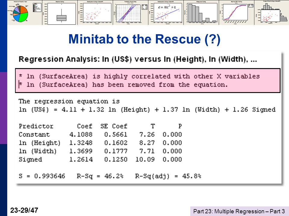 Part 23: Multiple Regression – Part /47 Minitab to the Rescue ( )