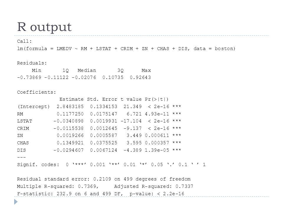 Step: AIC=-1430.81 LMEDV ~ LSTAT Df Sum of Sq RSS AIC + CRIM 1 2.77 26.93 -1478.28 + RM 1 2.57 27.12 -1474.69 + CHAS 1 1.12 28.57 -1448.25 + INDUS 1 0.41 29.29 -1435.83 + DIS 1 0.37 29.33 -1435.13 29.69 -1430.81 + ZN 1 0.10 29.60 -1430.47 Step: AIC=-1478.28 LMEDV ~ LSTAT + CRIM Df Sum of Sq RSS AIC + RM 1 3.08 23.85 -1537.65 + CHAS 1 1.00 25.93 -1495.42 + DIS 1 0.91 26.02 -1493.74 + INDUS 1 0.11 26.81 -1478.42 26.93 -1478.28 + ZN 1 0.08 26.85 -1477.82
