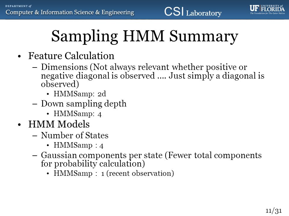 11/31 CSI Laboratory 2010 Sampling HMM Summary Feature Calculation –Dimensions (Not always relevant whether positive or negative diagonal is observed
