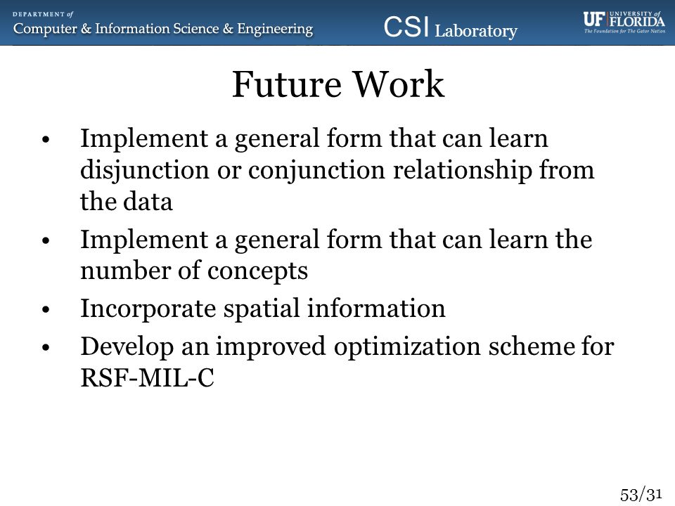 53/31 CSI Laboratory 2010 Future Work Implement a general form that can learn disjunction or conjunction relationship from the data Implement a genera