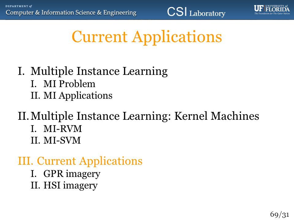69/31 CSI Laboratory 2010 Current Applications I.Multiple Instance Learning I.MI Problem II.MI Applications II.Multiple Instance Learning: Kernel Mach