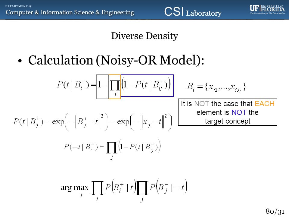 80/31 CSI Laboratory 2010 Diverse Density Calculation (Noisy-OR Model): Optimization It is NOT the case that EACH element is NOT the target concept