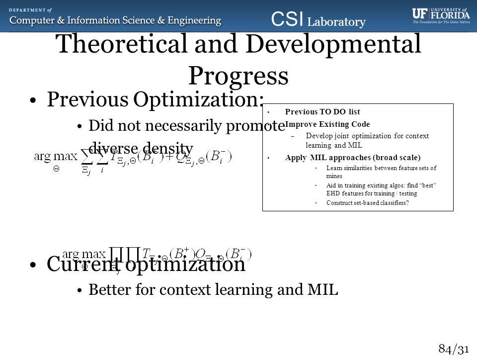84/31 CSI Laboratory 2010 Theoretical and Developmental Progress Previous Optimization: Did not necessarily promote diverse density Current optimizati