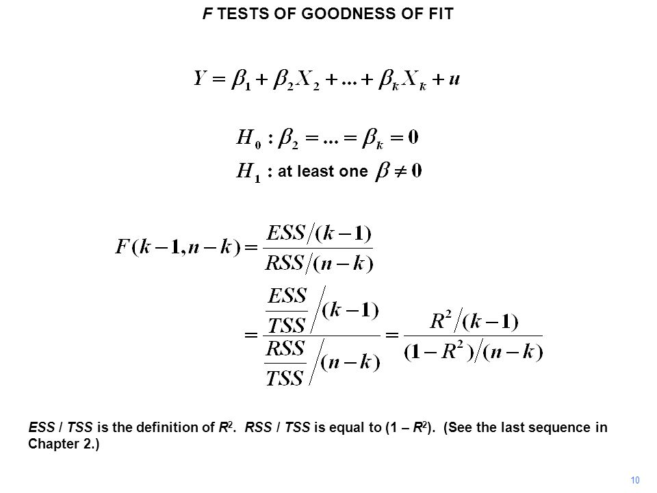 F TESTS OF GOODNESS OF FIT 10 ESS / TSS is the definition of R 2. RSS / TSS is equal to (1 – R 2 ). (See the last sequence in Chapter 2.) at least one