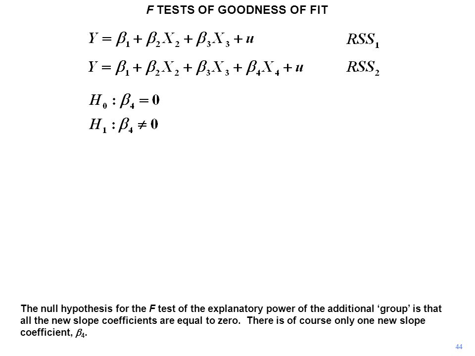 F TESTS OF GOODNESS OF FIT 44 The null hypothesis for the F test of the explanatory power of the additional 'group' is that all the new slope coeffici