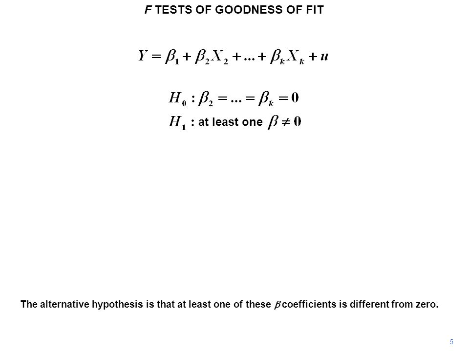 F TESTS OF GOODNESS OF FIT 6 In the multiple regression model there is a difference between the roles of the F and t tests.