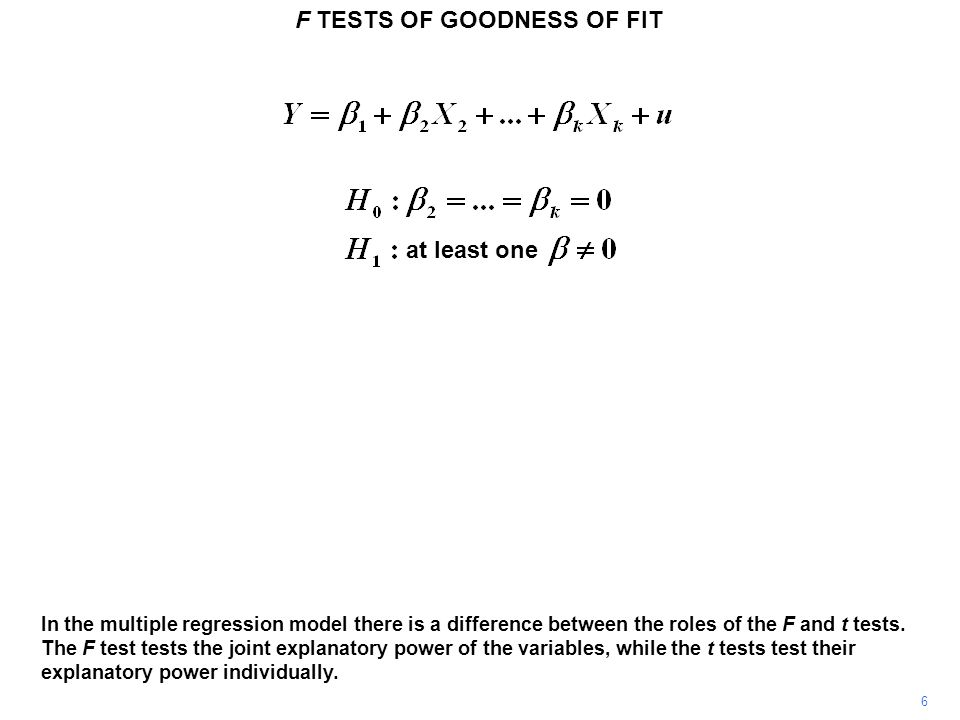 F TESTS OF GOODNESS OF FIT 47 Now we add SF and again make a note of the residual sum of squares..