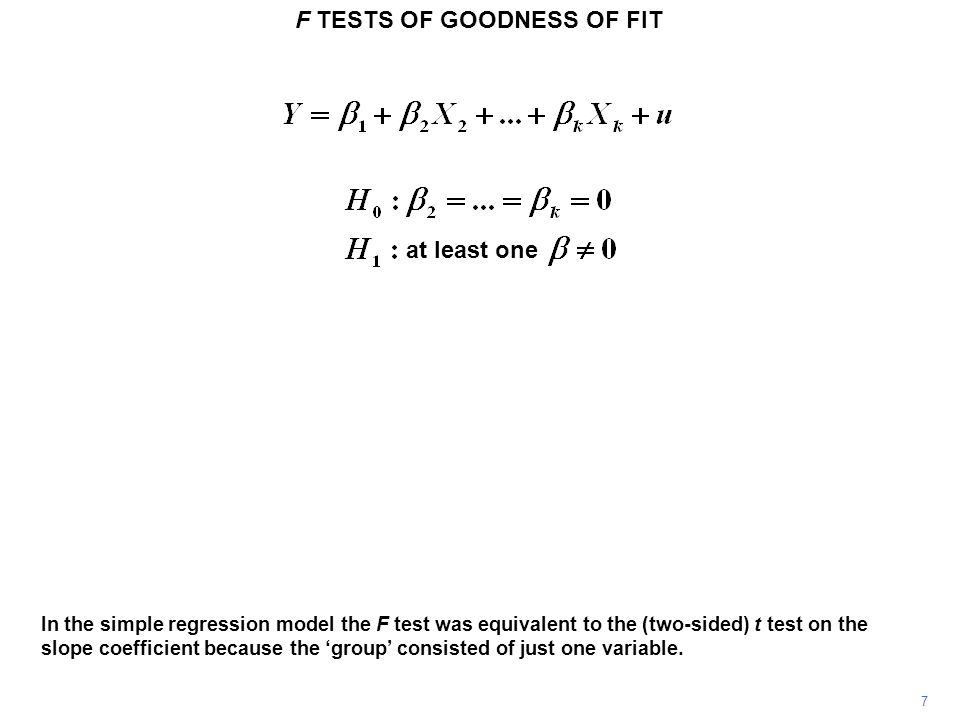 F TESTS OF GOODNESS OF FIT 28 For this F test, and for several others which we will encounter, it is useful to think of the F statistic as having the structure indicated above.