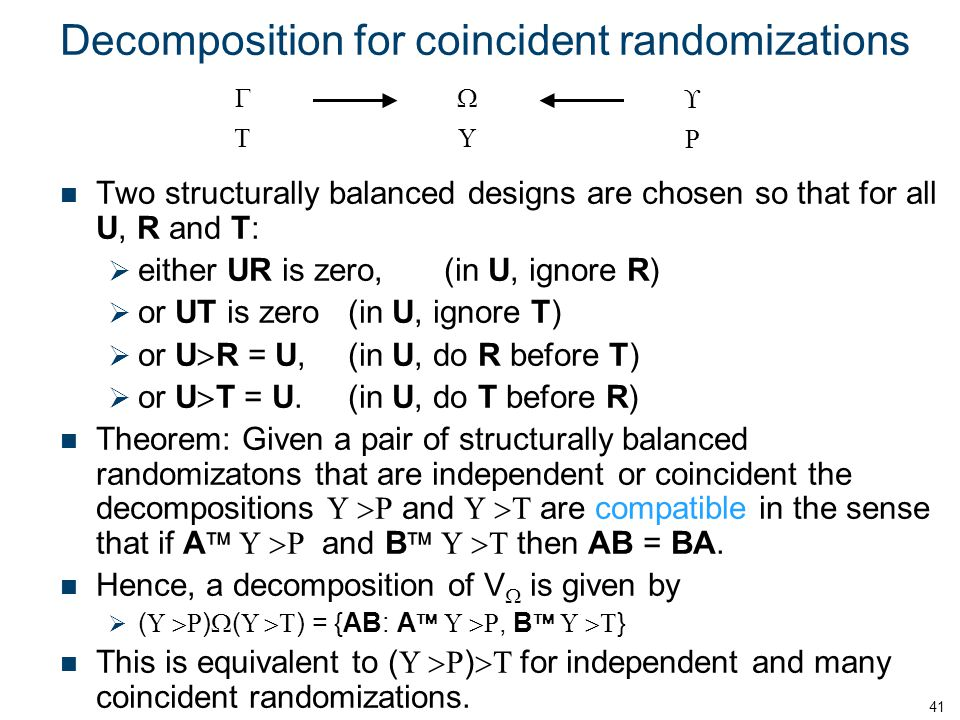 Decomposition for coincident randomizations Two structurally balanced designs are chosen so that for all U, R and T:  either UR is zero,(in U, ignore R)  or UT is zero(in U, ignore T)  or U  R = U,(in U, do R before T)  or U  T = U.(in U, do T before R) Theorem: Given a pair of structurally balanced randomizatons that are independent or coincident the decompositions U  R and U  T are compatible in the sense that if A  U  R and B  U  T then AB = BA.
