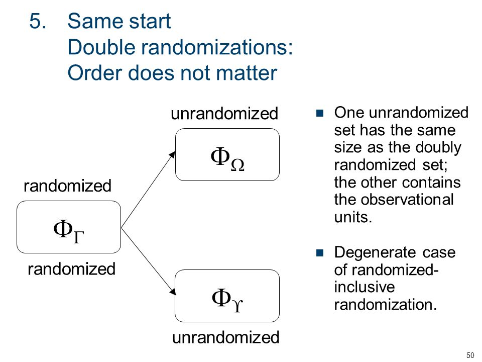 5.Same start Double randomizations: Order does not matter One unrandomized set has the same size as the doubly randomized set; the other contains the observational units.