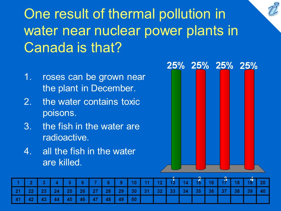 One result of thermal pollution in water near nuclear power plants in Canada is that.