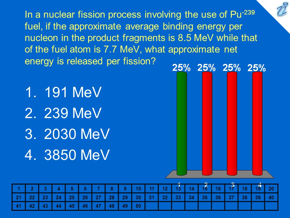 In a nuclear fission process involving the use of Pu -239 fuel, if the approximate average binding energy per nucleon in the product fragments is 8.5 MeV while that of the fuel atom is 7.7 MeV, what approximate net energy is released per fission.