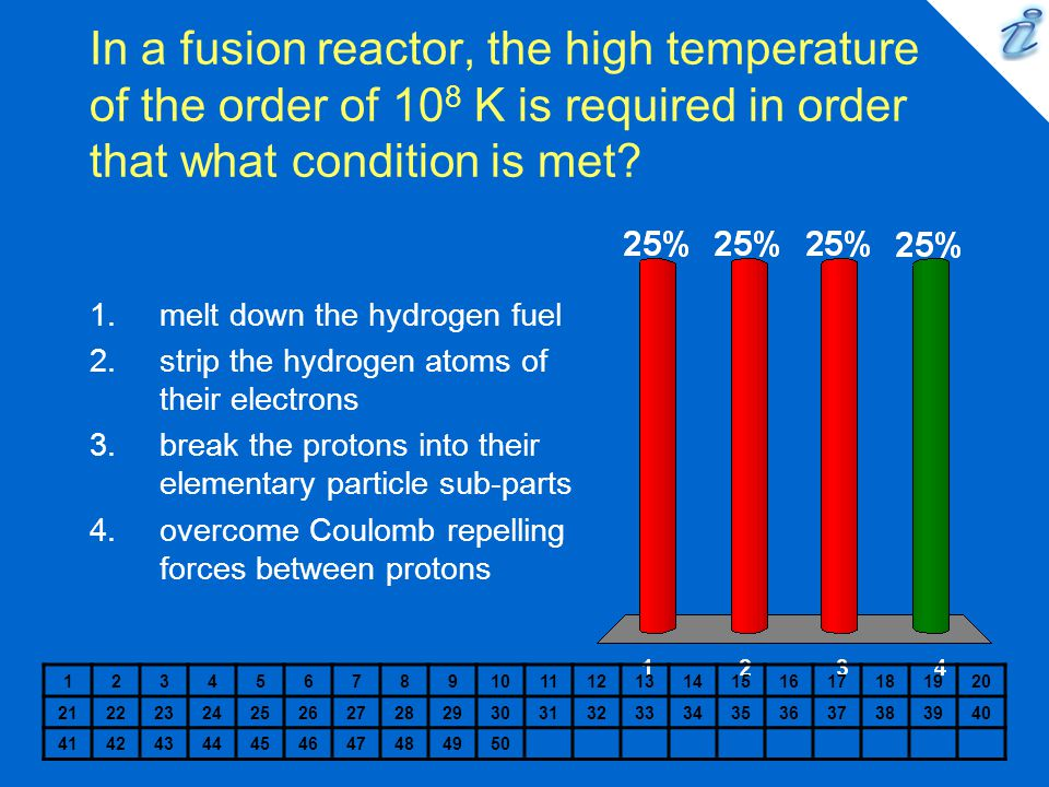 In a fusion reactor, the high temperature of the order of 10 8 K is required in order that what condition is met.