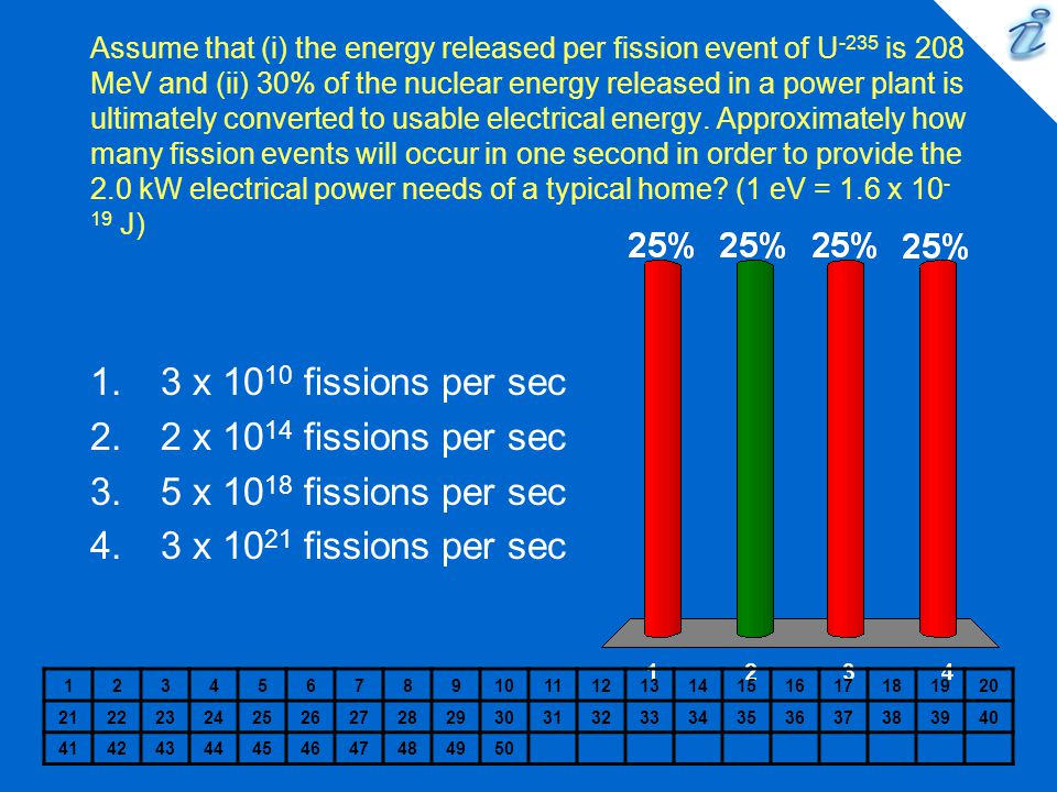 Assume that (i) the energy released per fission event of U -235 is 208 MeV and (ii) 30% of the nuclear energy released in a power plant is ultimately converted to usable electrical energy.