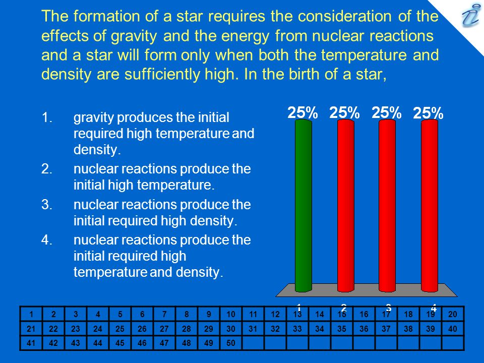 The formation of a star requires the consideration of the effects of gravity and the energy from nuclear reactions and a star will form only when both the temperature and density are sufficiently high.