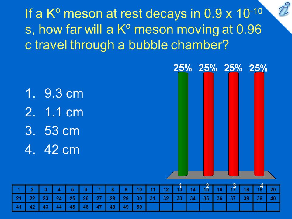 If a K o meson at rest decays in 0.9 x 10 -10 s, how far will a K o meson moving at 0.96 c travel through a bubble chamber.