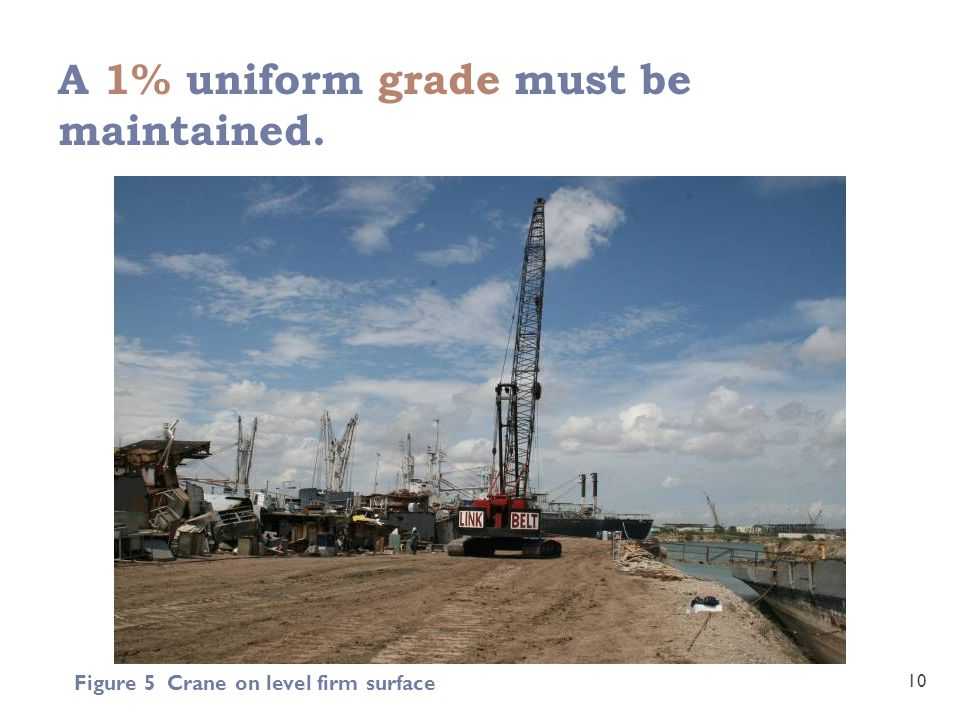 A 1% uniform grade must be maintained. 10 Figure 5 Crane on level firm surface