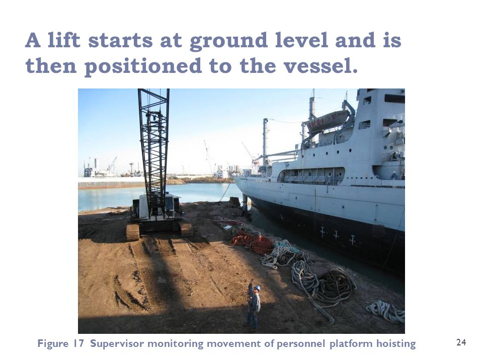 A lift starts at ground level and is then positioned to the vessel.