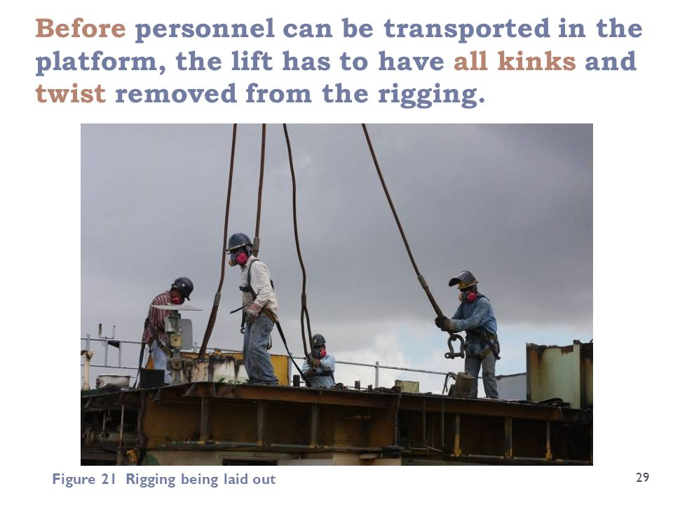 Before personnel can be transported in the platform, the lift has to have all kinks and twist removed from the rigging.