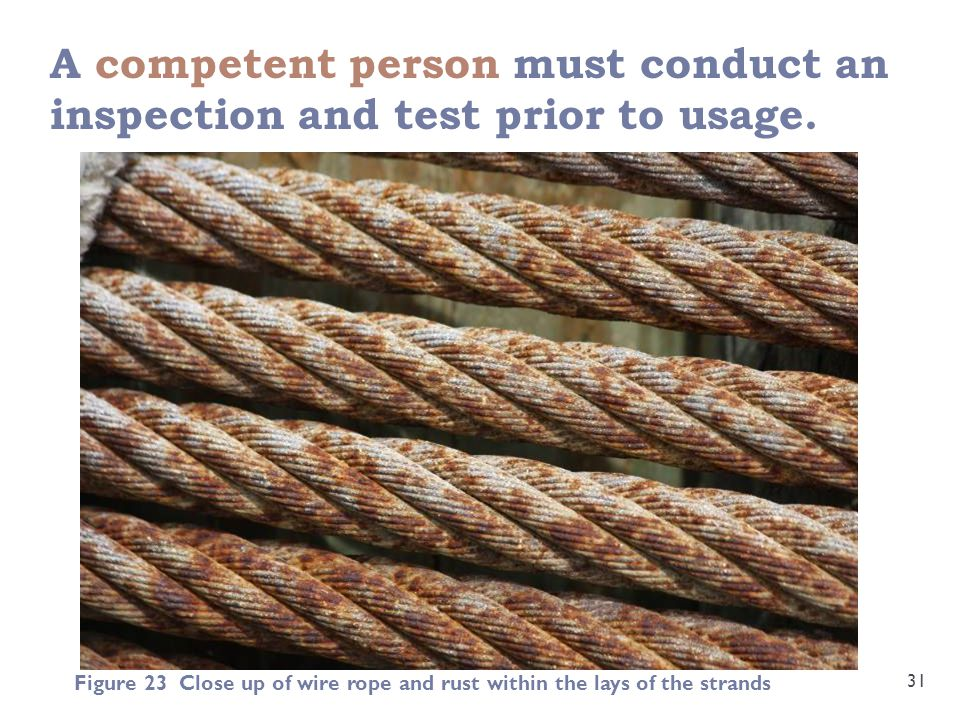 A competent person must conduct an inspection and test prior to usage.