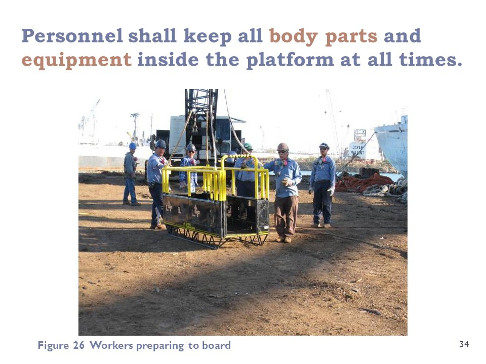 Personnel shall keep all body parts and equipment inside the platform at all times.