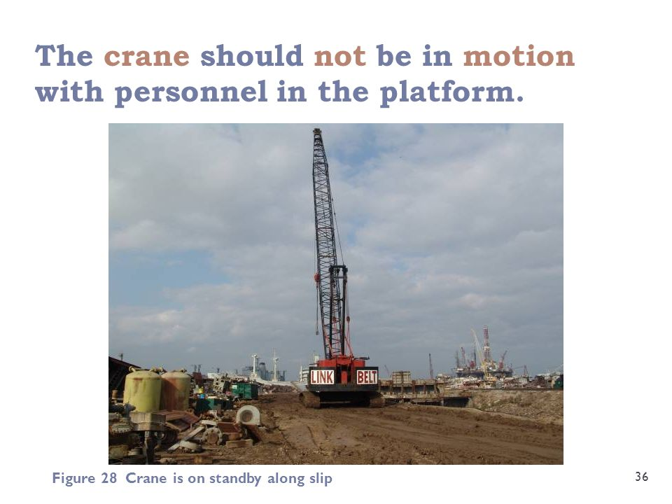 The crane should not be in motion with personnel in the platform.