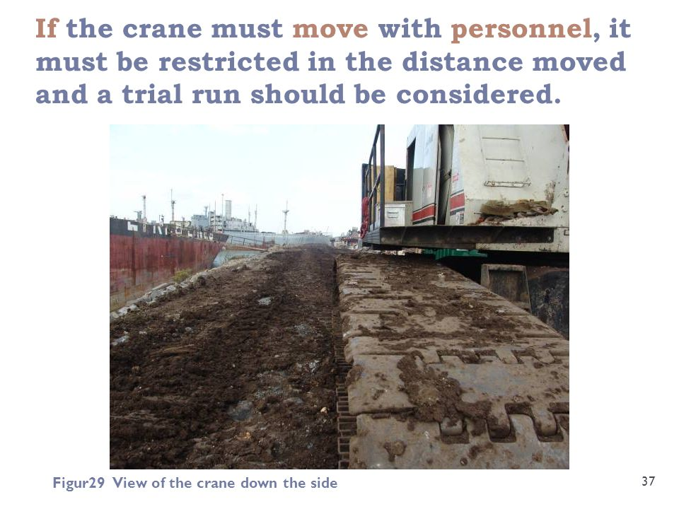If the crane must move with personnel, it must be restricted in the distance moved and a trial run should be considered.