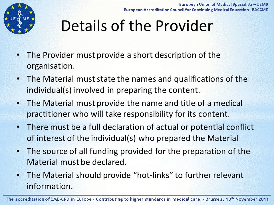 Details of the Provider The Provider must provide a short description of the organisation.