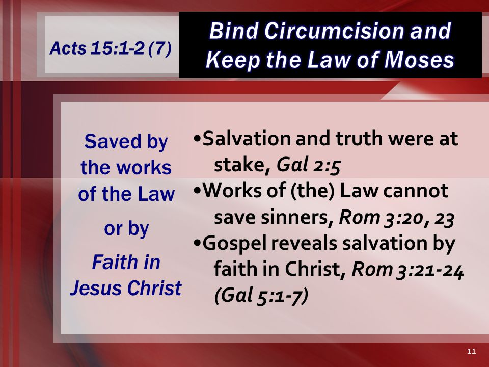 Acts 15:1-2 (7) Salvation and truth were at stake, Gal 2:5 Works of (the) Law cannot save sinners, Rom 3:20, 23 Gospel reveals salvation by faith in Christ, Rom 3:21-24 (Gal 5:1-7) Saved by the works of the Law or by Faith in Jesus Christ 11