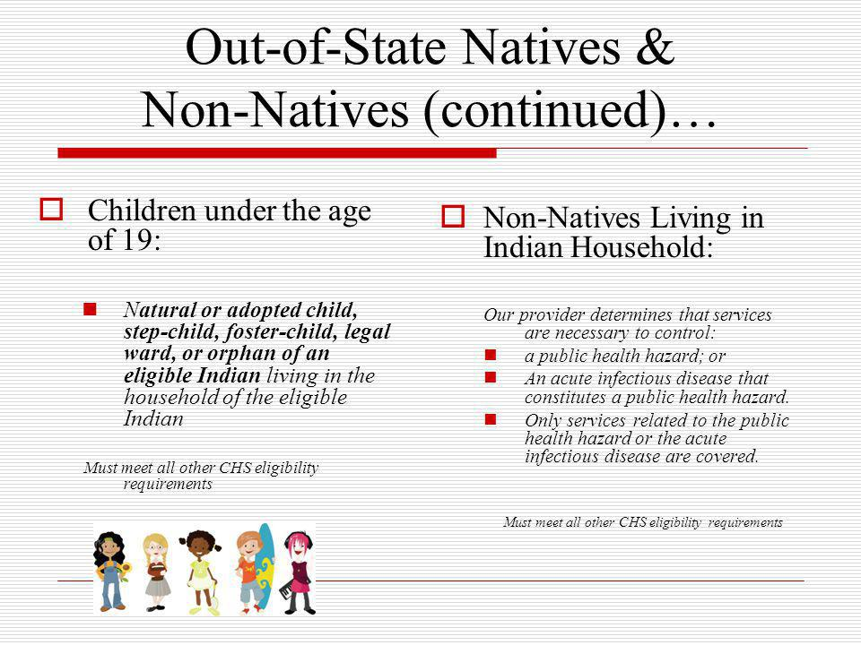 Out-of-State Natives & Non-Natives (continued)…  Children under the age of 19: Natural or adopted child, step-child, foster-child, legal ward, or orp