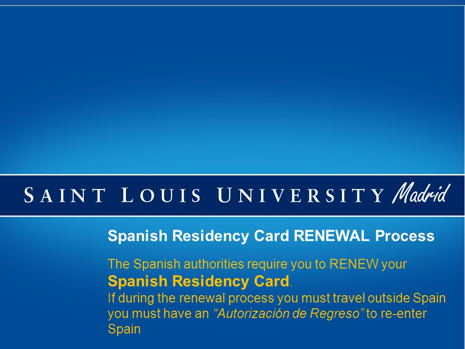 To renew your Residency Card (NIE) You are not allowed to enter into Spain again if your residency card (NIE) has expired unless you have a NEW VISA You MUST renew your card, no earlier than 60 days prior to the card's expiration date, and no later than 90 days after it expires.