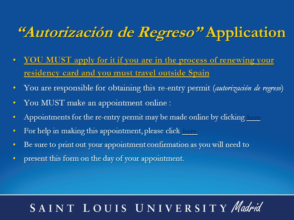And take the following documents to the Police Station in Aluche: 1.Your Appointment letter 2.Your Passport (original and copy) 3.Your Current Student Residency Card (the original and one copy) 4.Your travel/flight itinerary 5.Form # 790 012 (available in the Student Life office) that you have paid the fees to apply for this Autorización at a local bank EX 13 EX 13 6.Form EX 13 (that must be filled out online and then printed out)EX 13 7.The copy EX00 that the Registro , at Calle Garcia de Paredes 65, gave to you