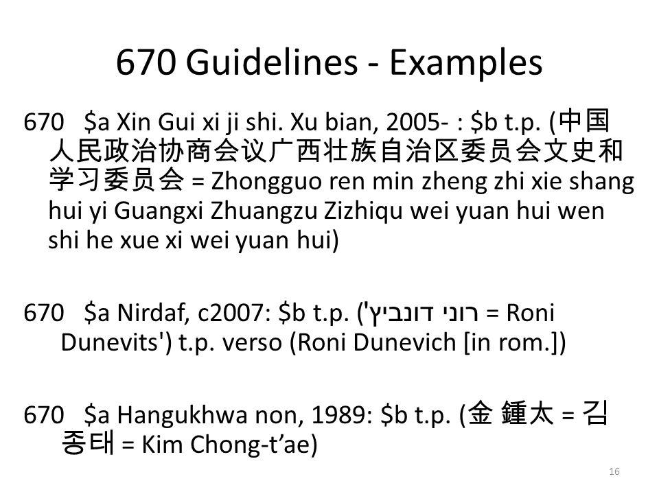 670 Guidelines - Examples 670 $a Xin Gui xi ji shi.
