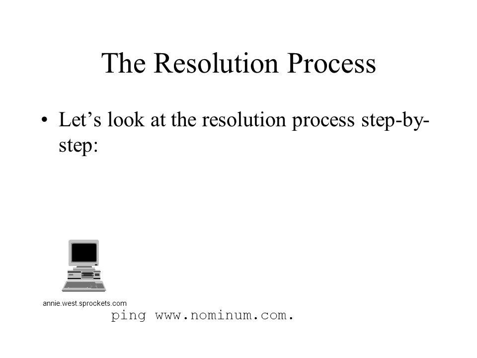 ping www.nominum.com. The Resolution Process Let's look at the resolution process step-by- step: annie.west.sprockets.com