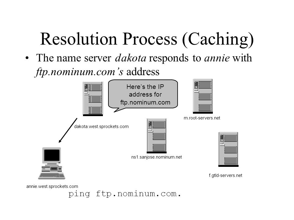 ping ftp.nominum.com. Here's the IP address for ftp.nominum.com Resolution Process (Caching) The name server dakota responds to annie with ftp.nominum