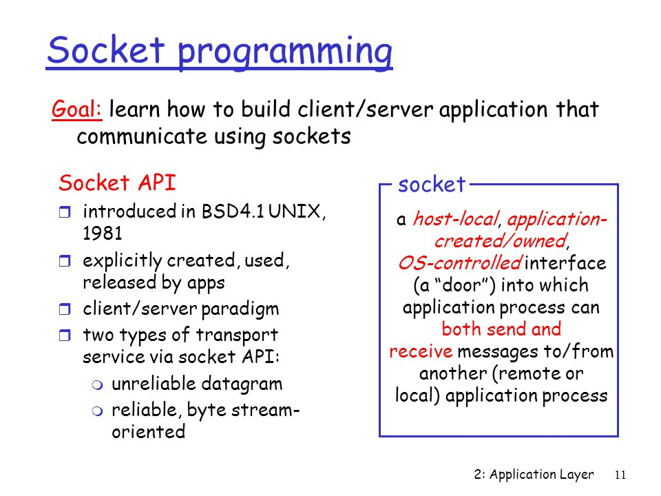 2: Application Layer11 Socket programming Socket API r introduced in BSD4.1 UNIX, 1981 r explicitly created, used, released by apps r client/server paradigm r two types of transport service via socket API: m unreliable datagram m reliable, byte stream- oriented a host-local, application- created/owned, OS-controlled interface (a door ) into which application process can both send and receive messages to/from another (remote or local) application process socket Goal: learn how to build client/server application that communicate using sockets