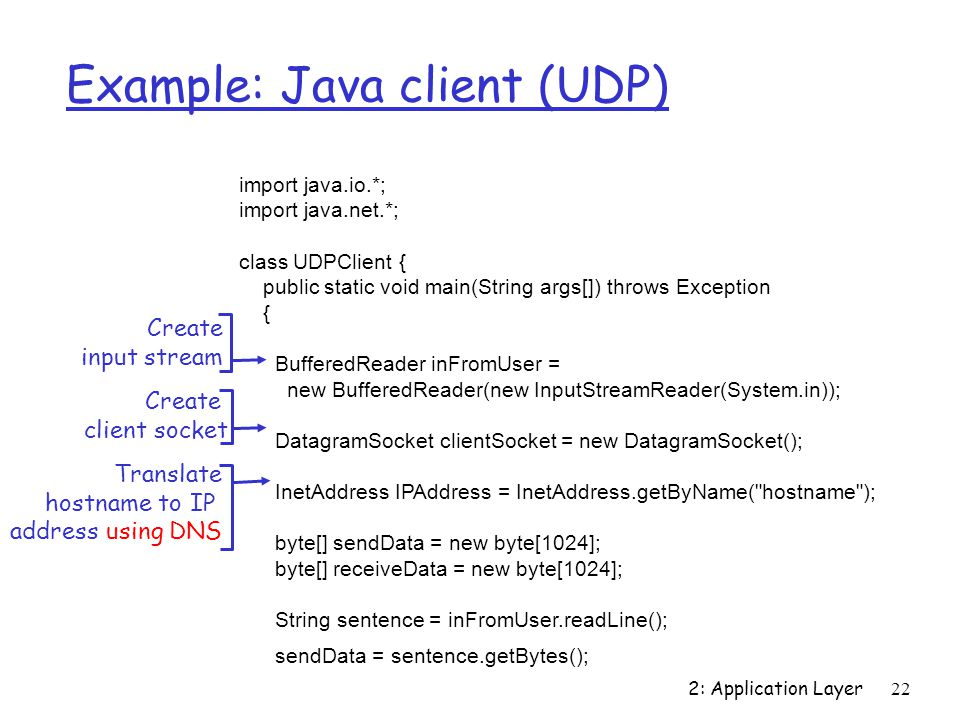 2: Application Layer22 Example: Java client (UDP) import java.io.*; import java.net.*; class UDPClient { public static void main(String args[]) throws Exception { BufferedReader inFromUser = new BufferedReader(new InputStreamReader(System.in)); DatagramSocket clientSocket = new DatagramSocket(); InetAddress IPAddress = InetAddress.getByName( hostname ); byte[] sendData = new byte[1024]; byte[] receiveData = new byte[1024]; String sentence = inFromUser.readLine(); sendData = sentence.getBytes(); Create input stream Create client socket Translate hostname to IP address using DNS