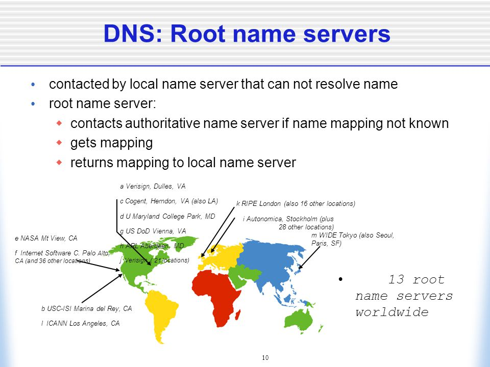 10 DNS: Root name servers contacted by local name server that can not resolve name root name server:  contacts authoritative name server if name mapping not known  gets mapping  returns mapping to local name server 13 root name servers worldwide b USC-ISI Marina del Rey, CA l ICANN Los Angeles, CA e NASA Mt View, CA f Internet Software C.