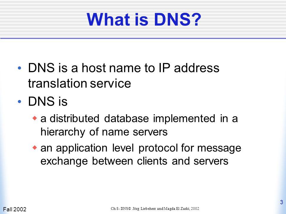 Fall 2002 14 Ch 8- DNS© Jörg Liebeherr and Magda El Zarki, 2002 DNS Queries (cont'd) Iterative:  The local server queries the root server.